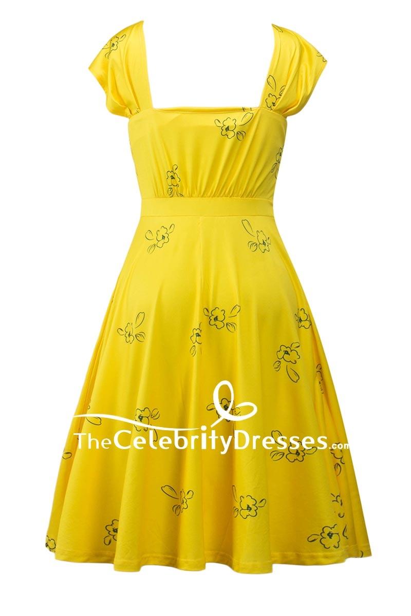 Emma Stone Yellow Print Dress Cosplay Costume In La La Land -  TheCelebrityDresses 7f2cc59b6c73