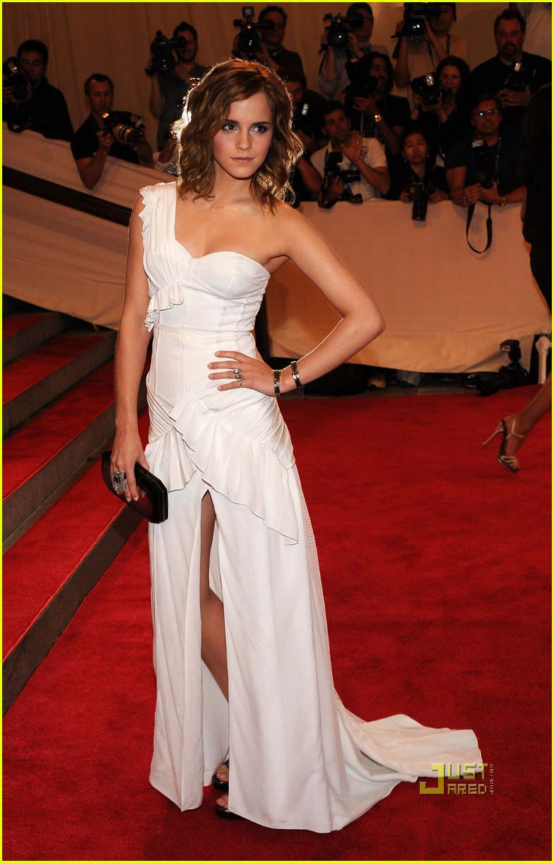 Emma Watson White One Shoulder Prom Gown Red Carpet Dresses Evening ...