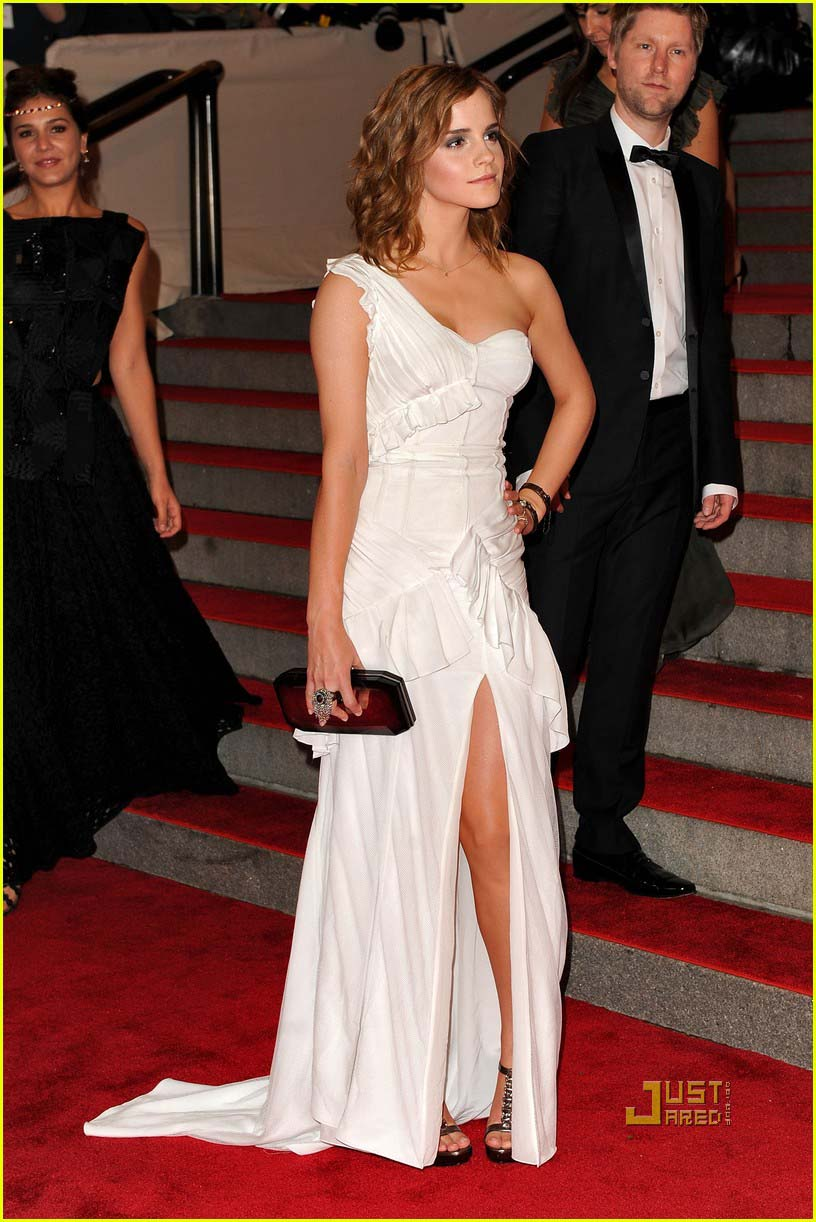 Emma Watson White One Shoulder Prom Gown Red Carpet