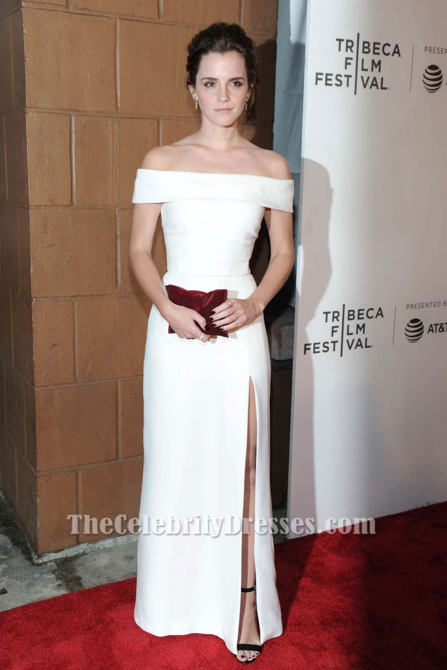 Emma Watson White Off Shoulder Evening Dress \'The Circle\' Tribeca ...