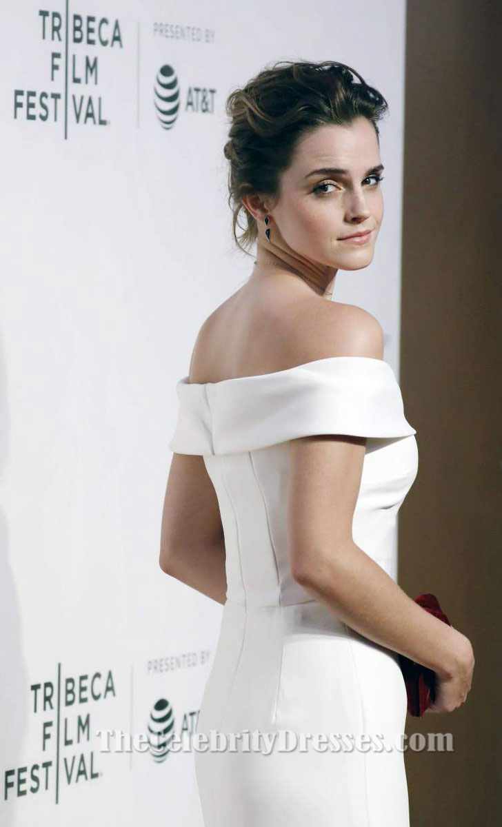 Emma Watson White Off Shoulder Evening Dress 'The Circle ...