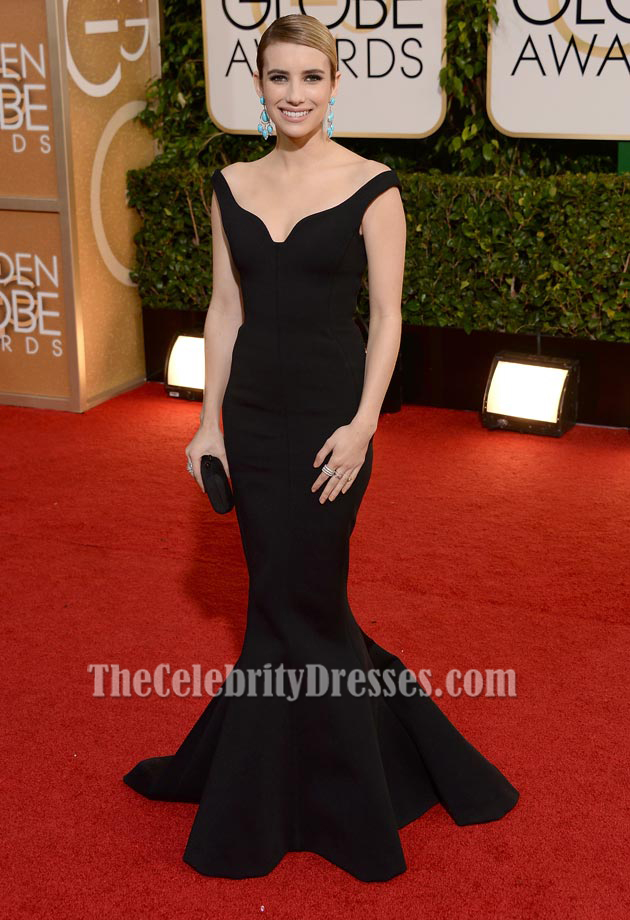 Emma Roberts 2014 Golden Globe Awards Black Formal Dress Red Carpet Thecelebritydresses
