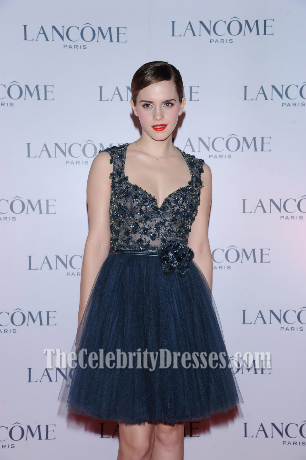 Emma Watson Navy Blue Short Cocktail Dress Lancome Dinner Celebrity ...