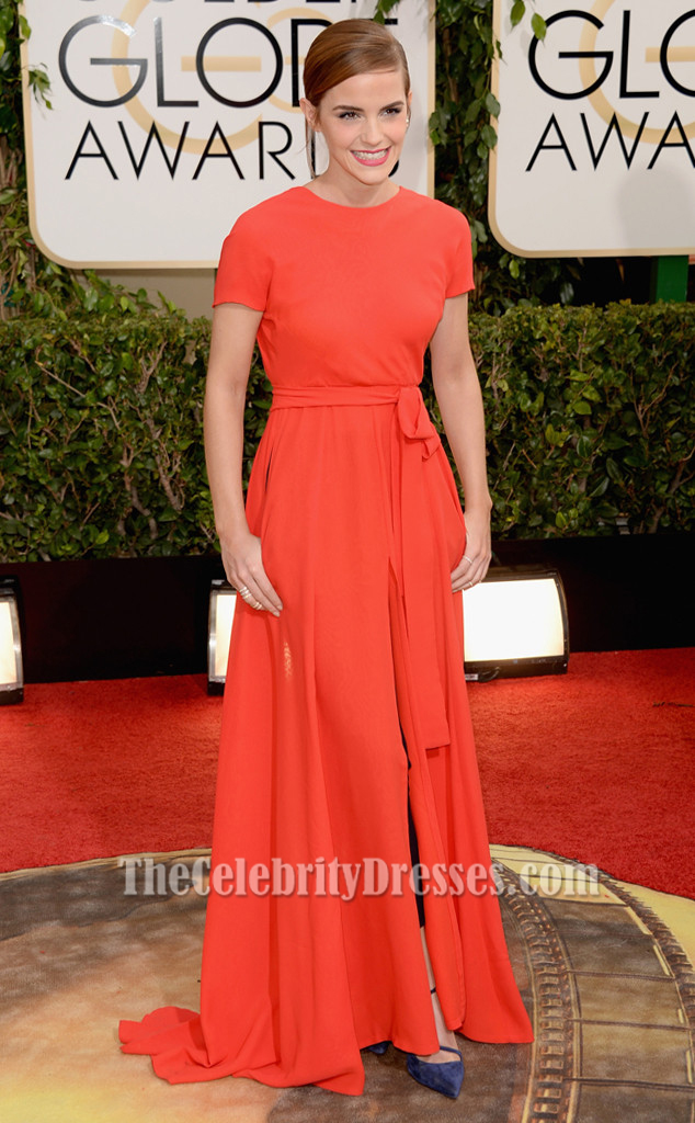 Emma Watson Red Backless Prom Dress 2014 Golden Globe Awards Red ...