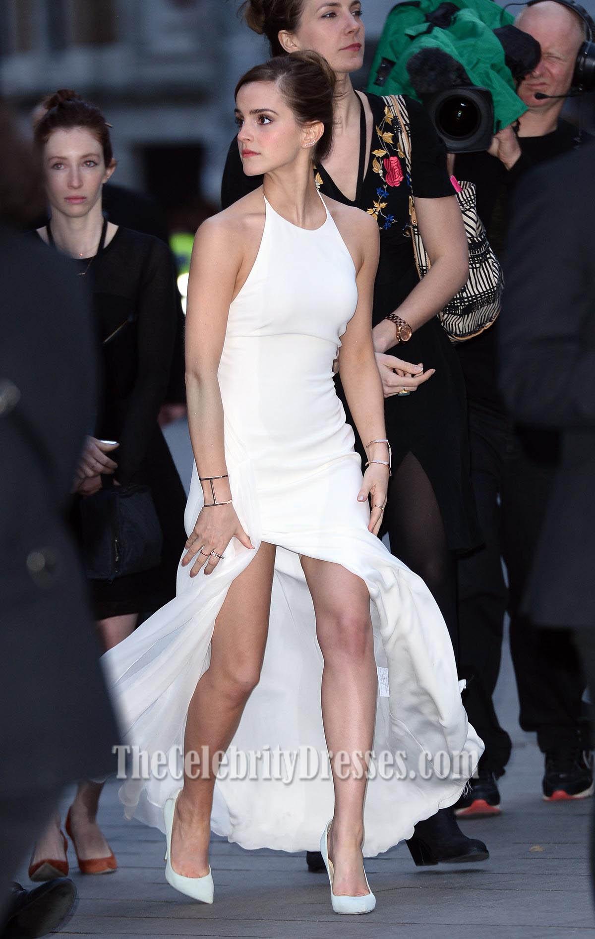 Emma Watson White Halter Prom Dress Noah premiere ...