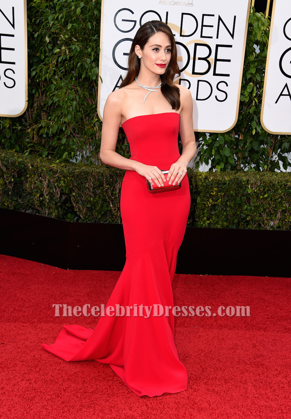 Emmy rossum red formal dress golden globes 2016 red carpet gown thecelebritydresses - Golden globes red carpet ...
