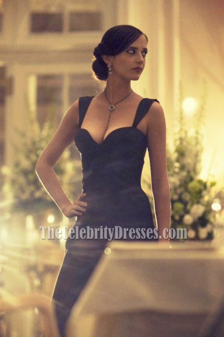 Eva Green Black Ruffle Formal Evening Dress Royale Tcd6970 Thecelebritydresses