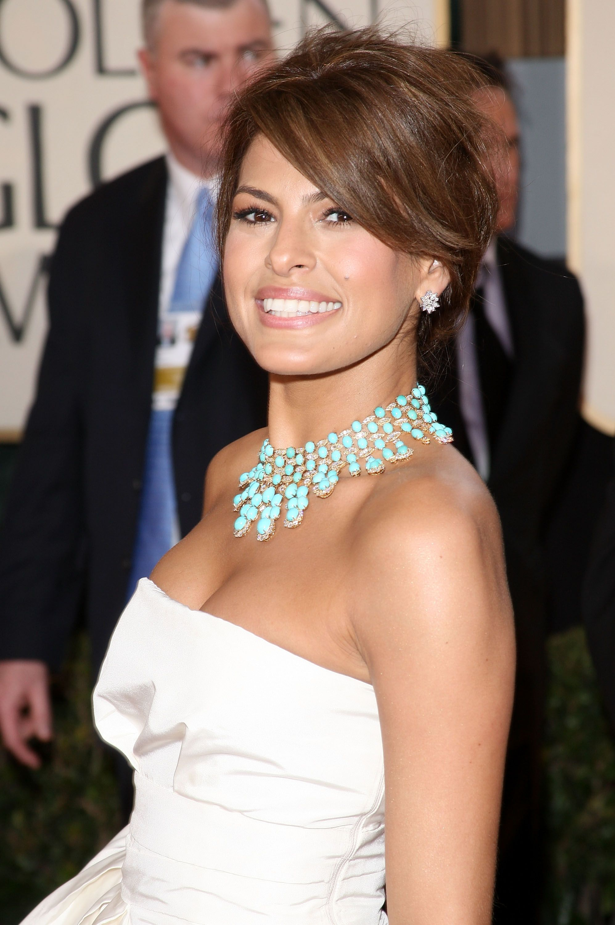 Eva Mendes Strapless White Prom Dress 66th Annual Golden ...