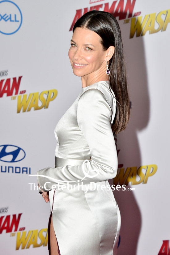 Evangeline Lilly Silver Column Evening Formal Dress Red Carpet Gown - TheCelebrityDresses