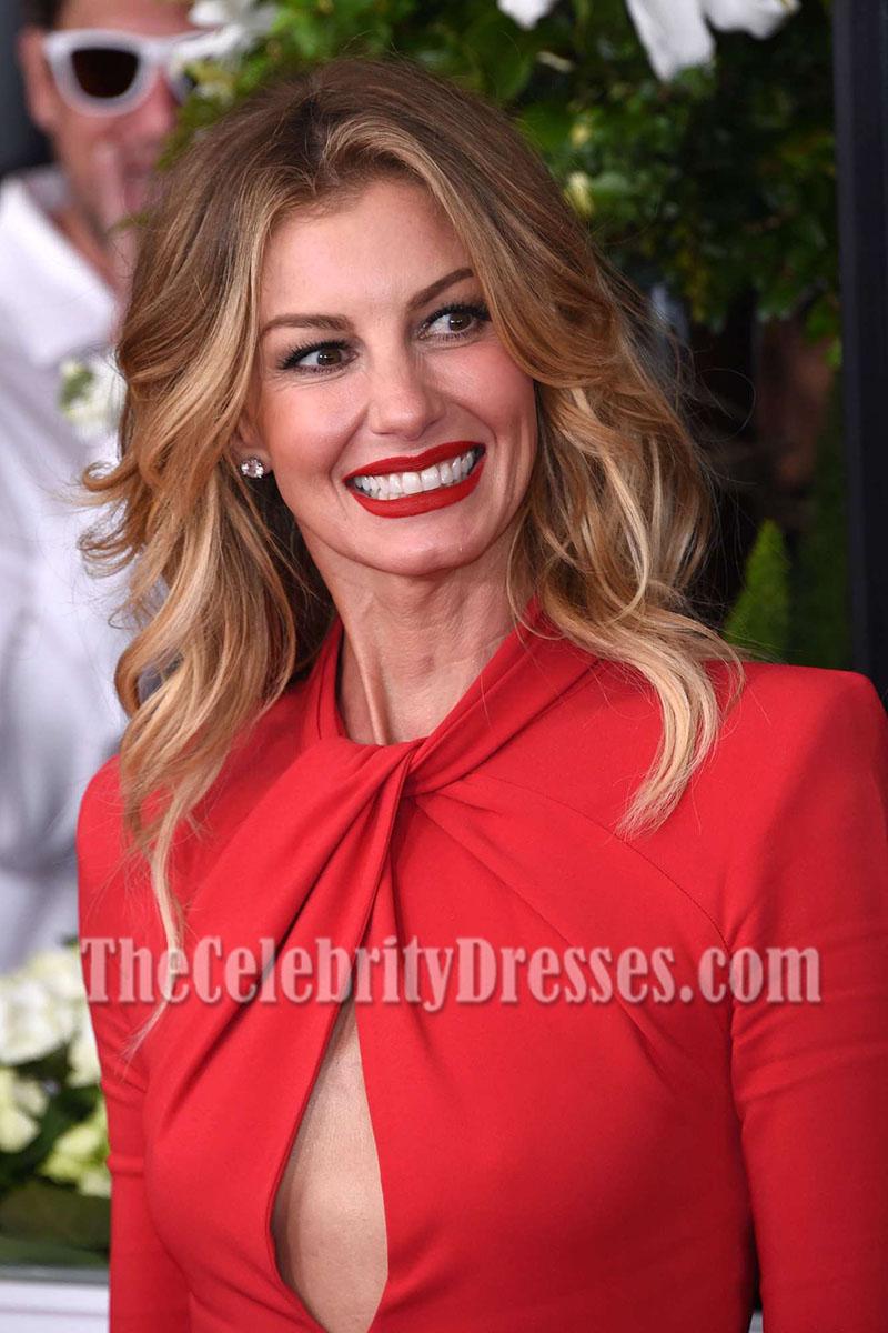 Faith Hill Red Long Sleeves Cutout Slit Evening Dress 2017 ...