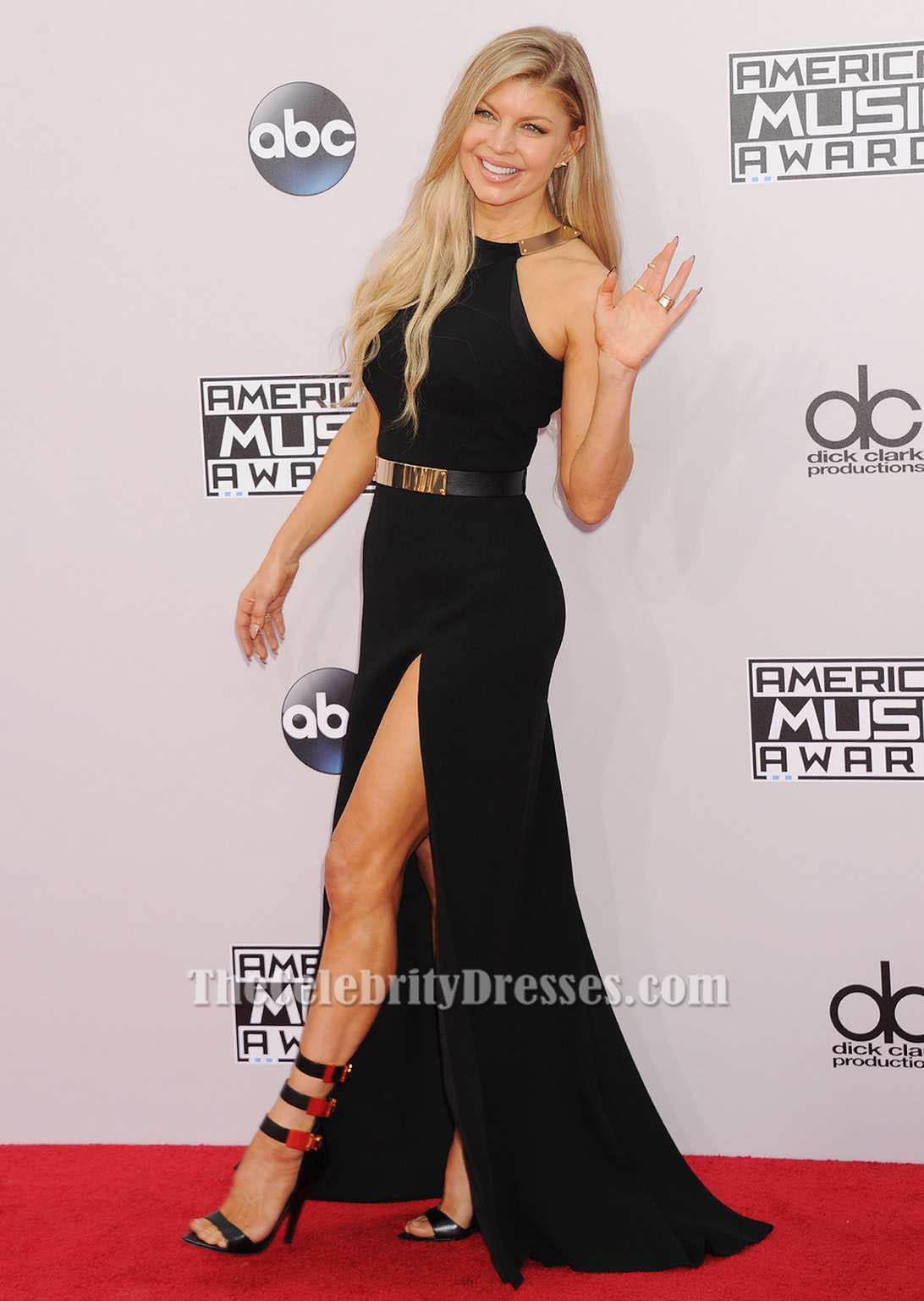 Fergie Black Side Slit Formal Evening Dresses 2014