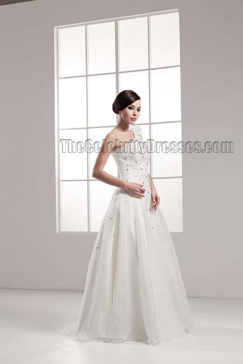 Floor Length A-Line One Shoulder Wedding Dress With Beading ...