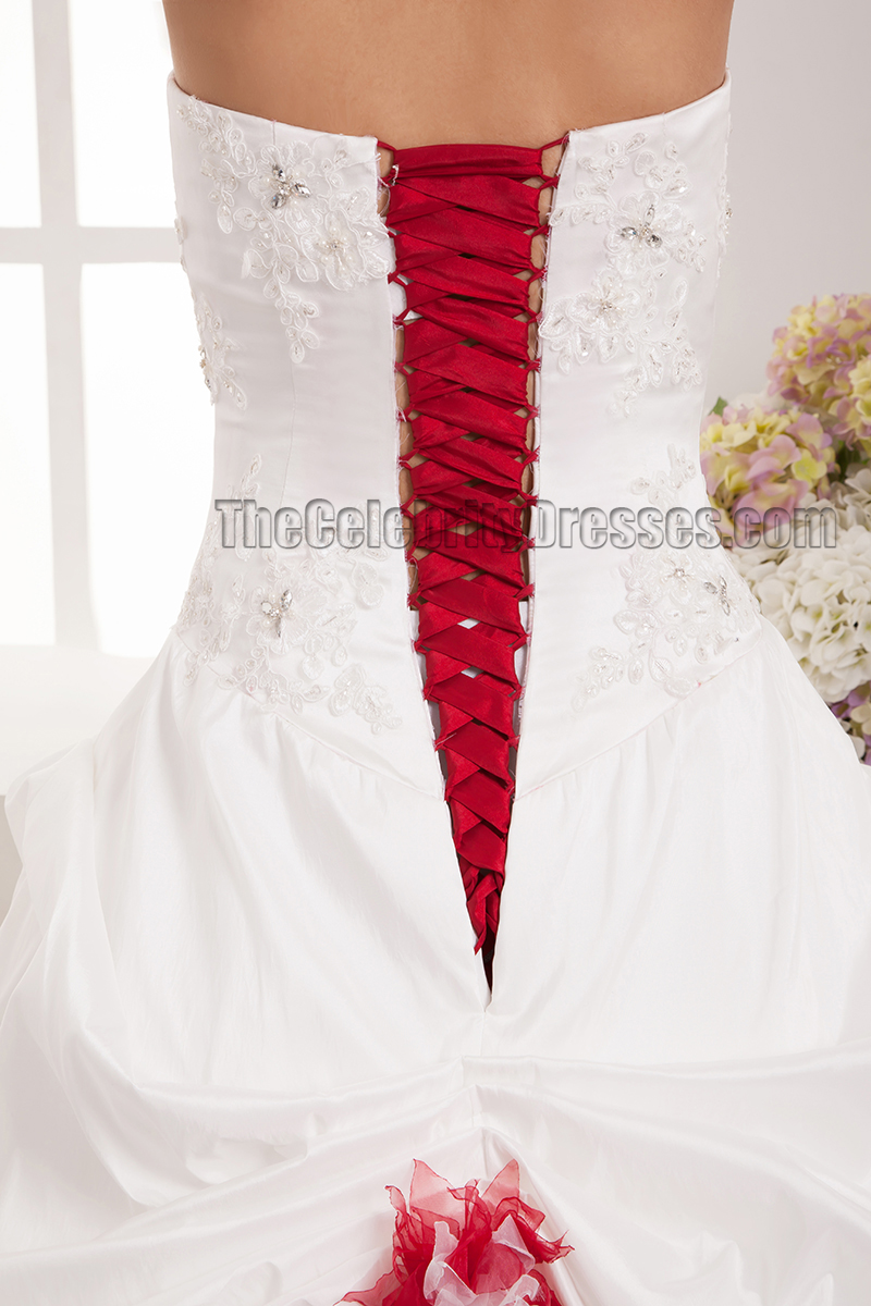 Floor Length A-Line Strapless Sweetheart Lace Up Wedding Dresses ...