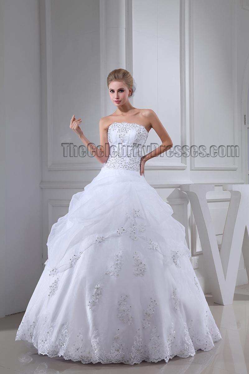 Floor Length Ball Gown Beaded Strapless Organza Wedding Dress ...