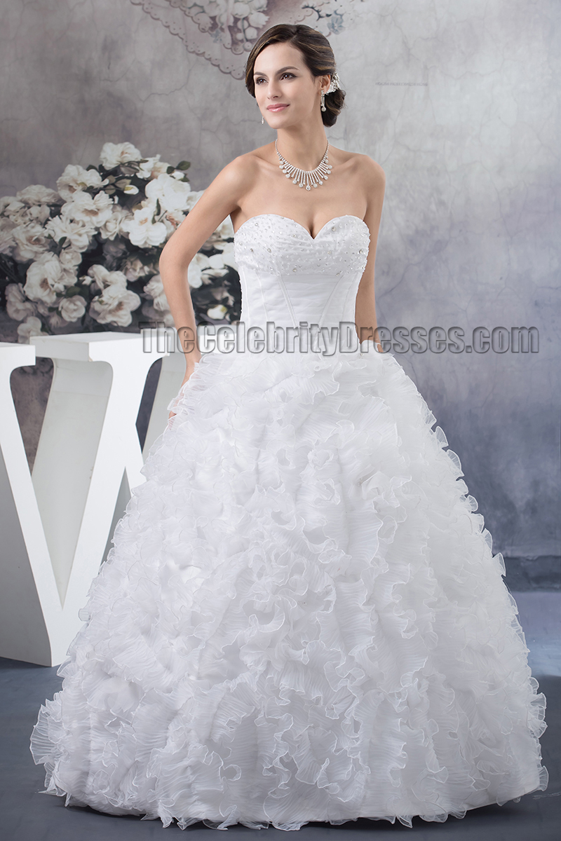 White Ruffle Wedding Dress