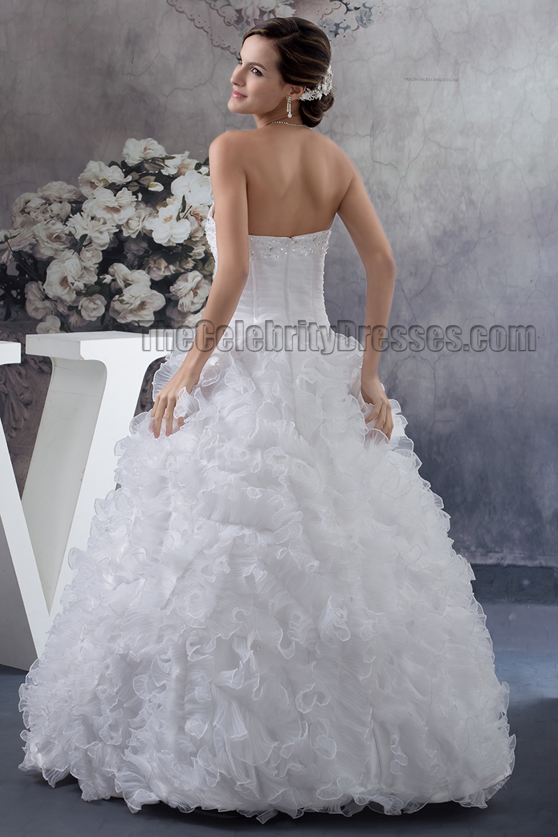 Floor Length Ball Gown Strapless Sweetheart Ruffles Beaded Wedding ...
