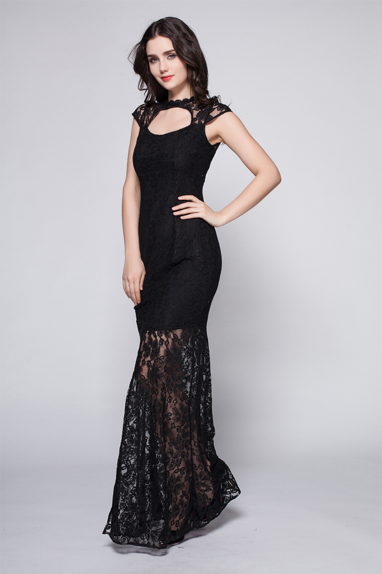 Floor Length Black Lace Cut Out Prom Gown Evening Dress ...