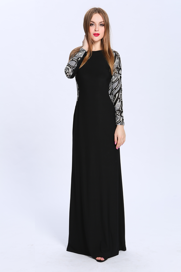 Floor Length Black Long Sleeve Formal Dress Evening Gown ...