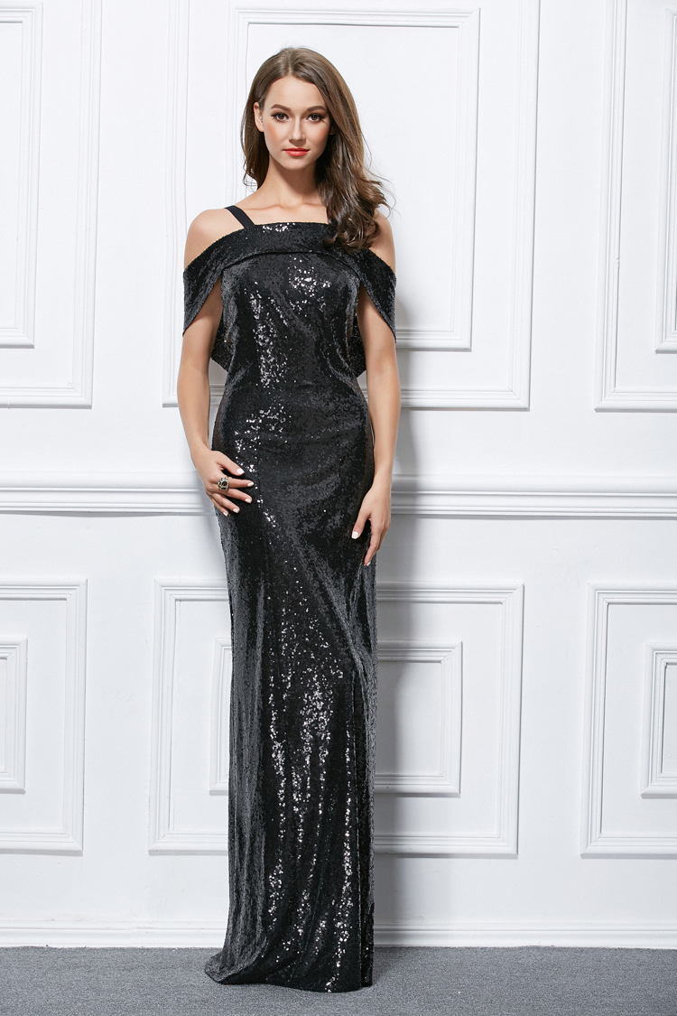 Floor Length Black Sequined Backless Evening Gown Prom Dress ...