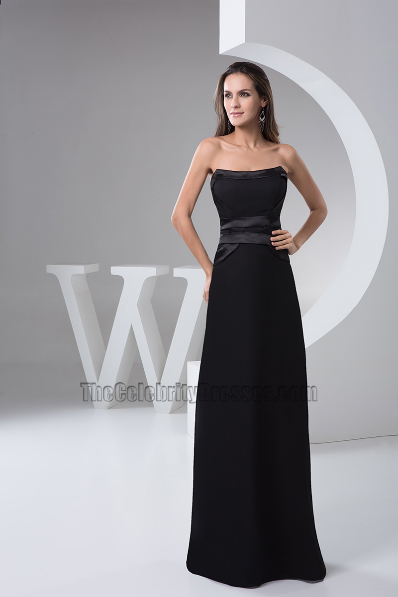Floor Length Black Strapless Evening Dress Prom Gown ...