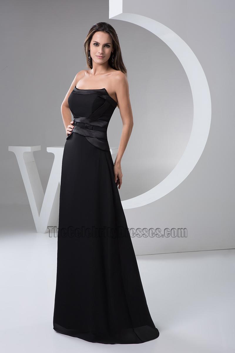 Floor Length Black Strapless Evening Dress Prom Gown ...