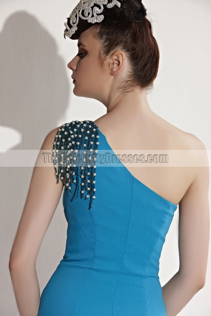 Floor Length Blue One Shoulder Evening Gown Prom Dress With Beading ...
