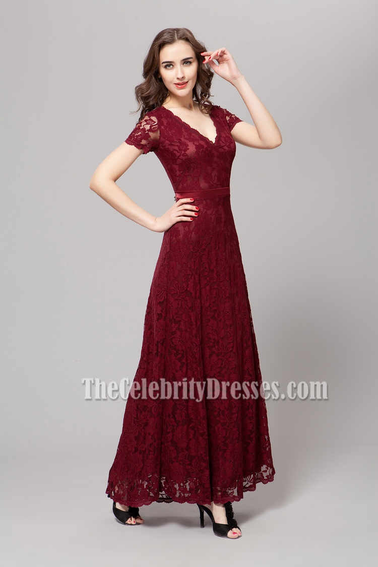 Floor Length Burgundy Lace Prom Gown Evening Dresses ...