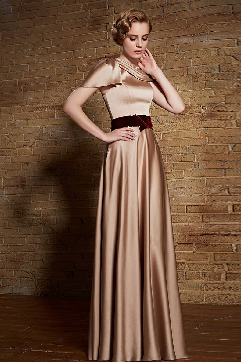 Floor Length Champagne Formal Dress Evening Prom Gowns - TheCelebrityDresses