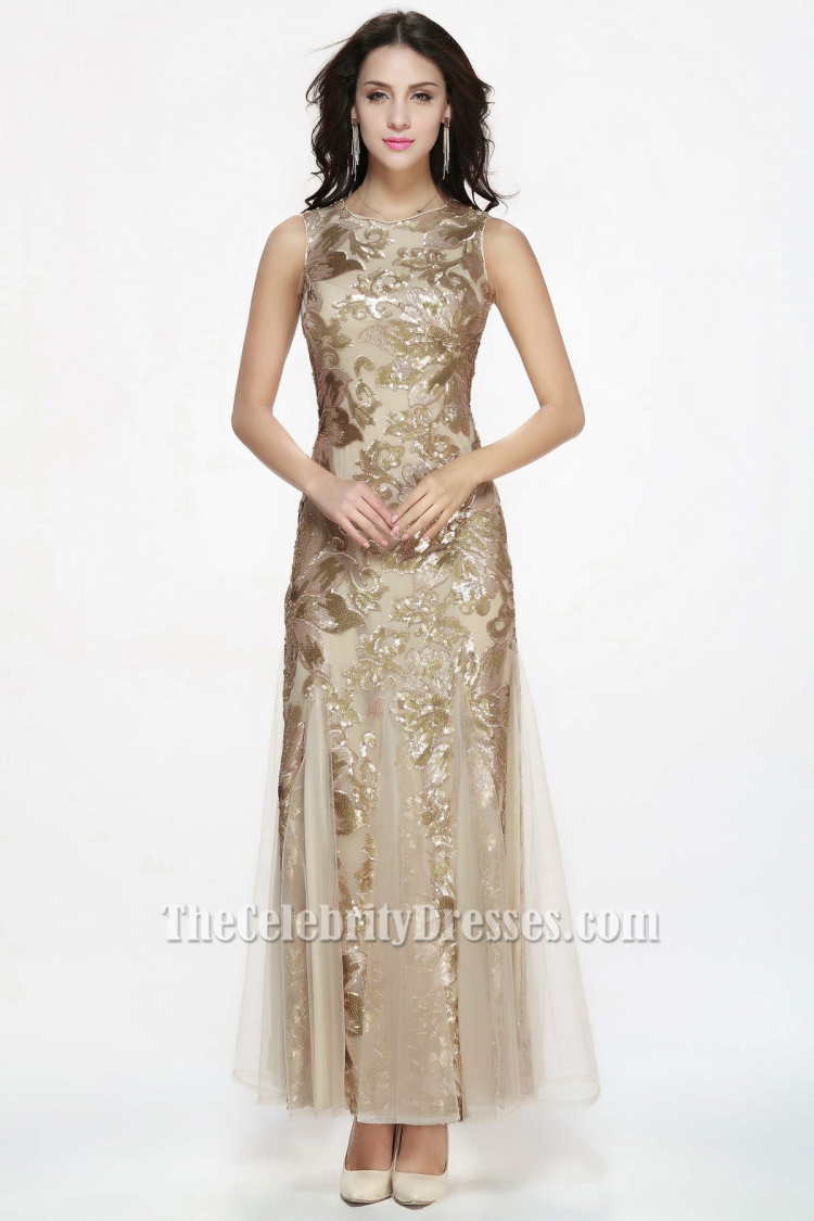 Floor Length Champagne Sequined Sleeveless Formal Dress Evening ...
