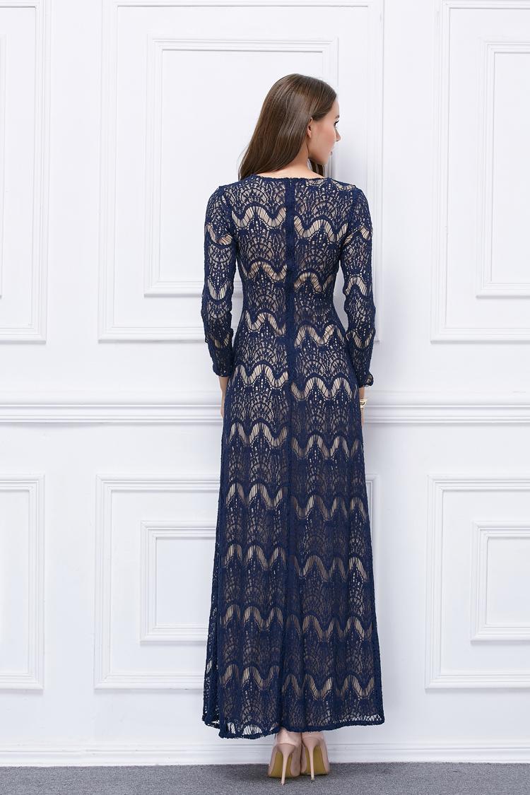 e300ac7ef82 Floor Length Dark Navy Lace Long Sleeve Evening Formal Dresses -  TheCelebrityDresses