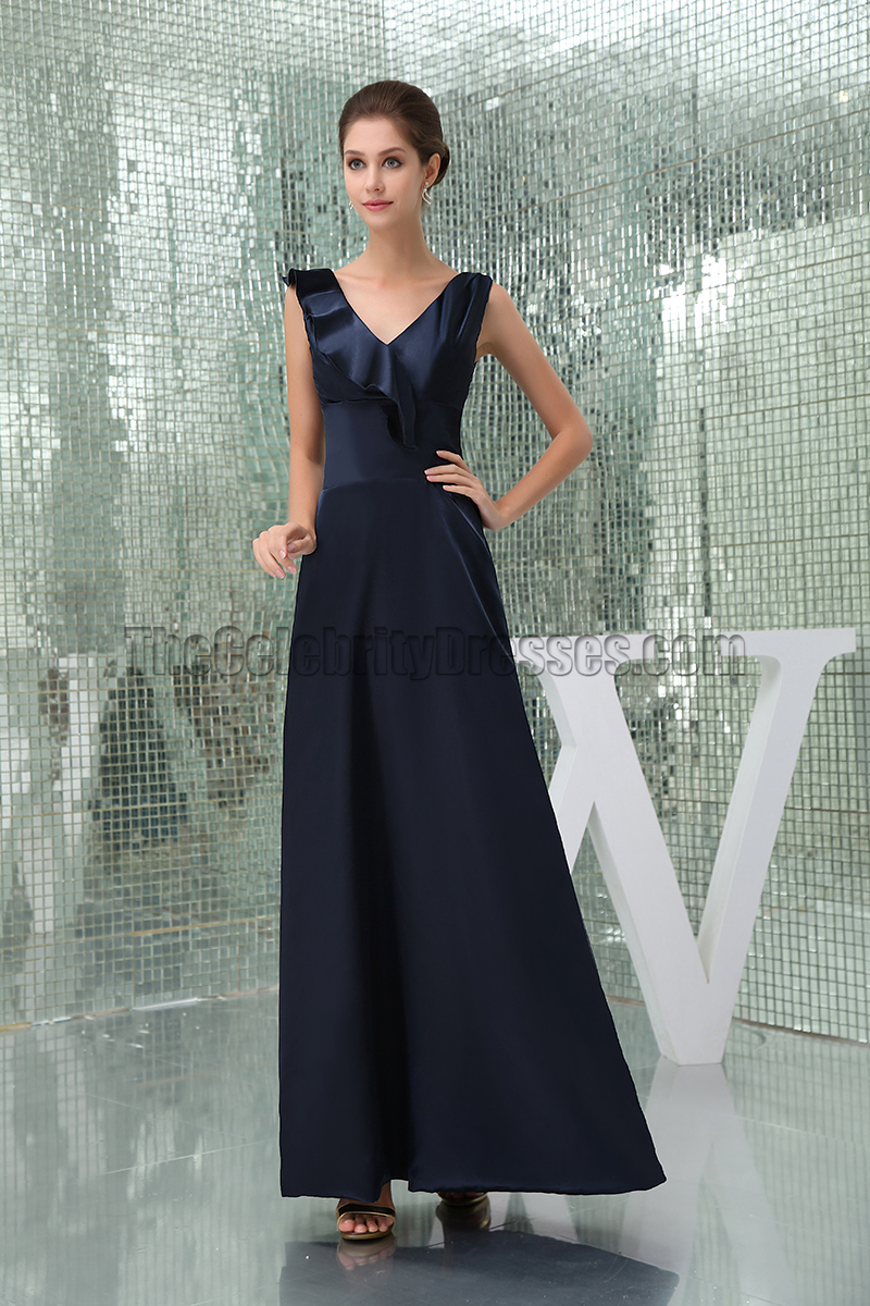 Floor Length Dark Navy Prom Gown Evening Military Ball