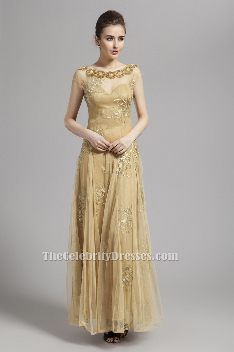 Floor Length Gold Tulle Prom Dress Backless Evening Gown ...