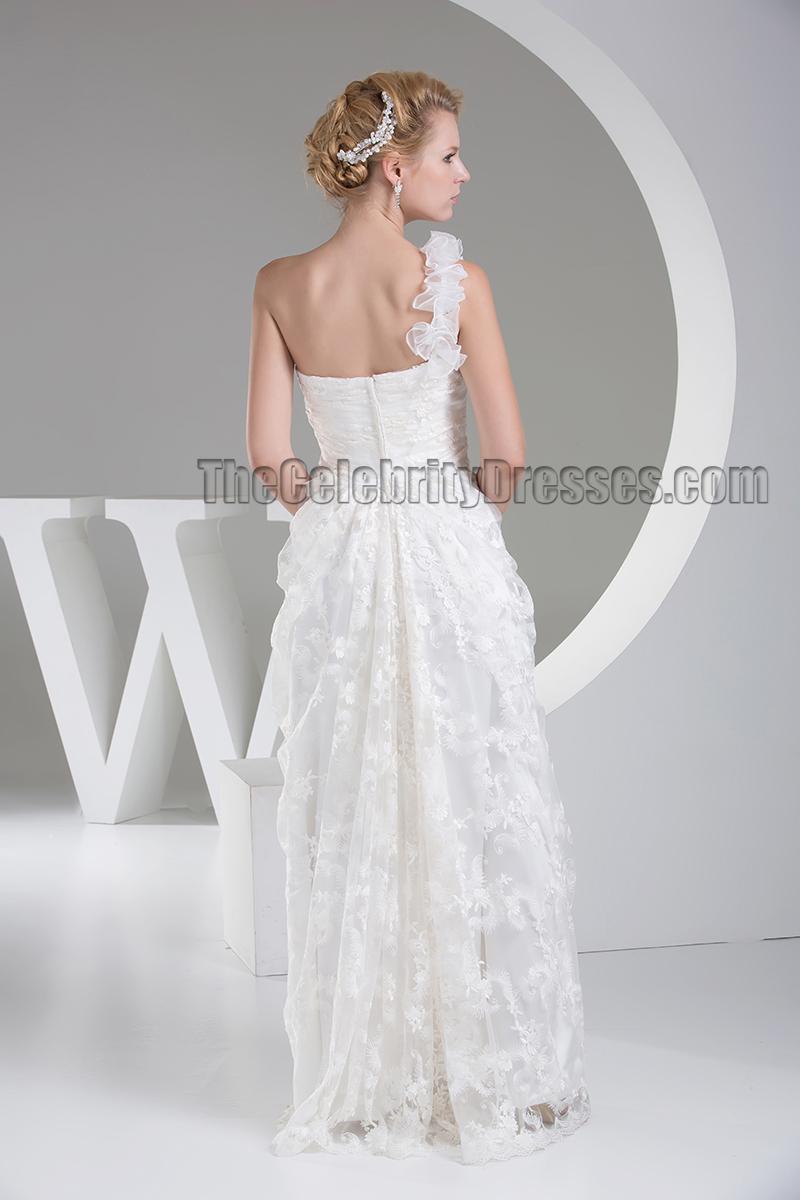 Floor length one shoulder lace wedding dress bridal gown for Lace one shoulder wedding dress