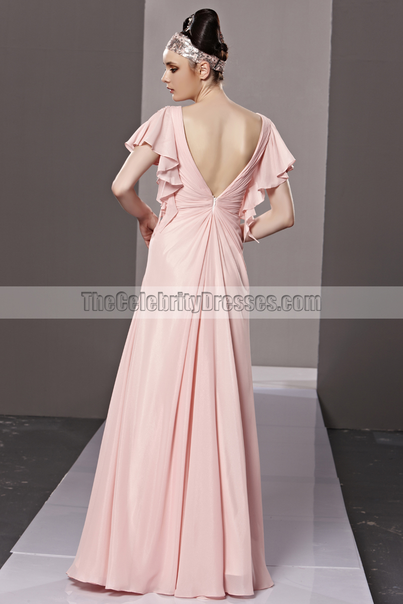 d45c612c4a Floor Length Pink Low Cut Formal Dress Evening Prom Gown -  TheCelebrityDresses