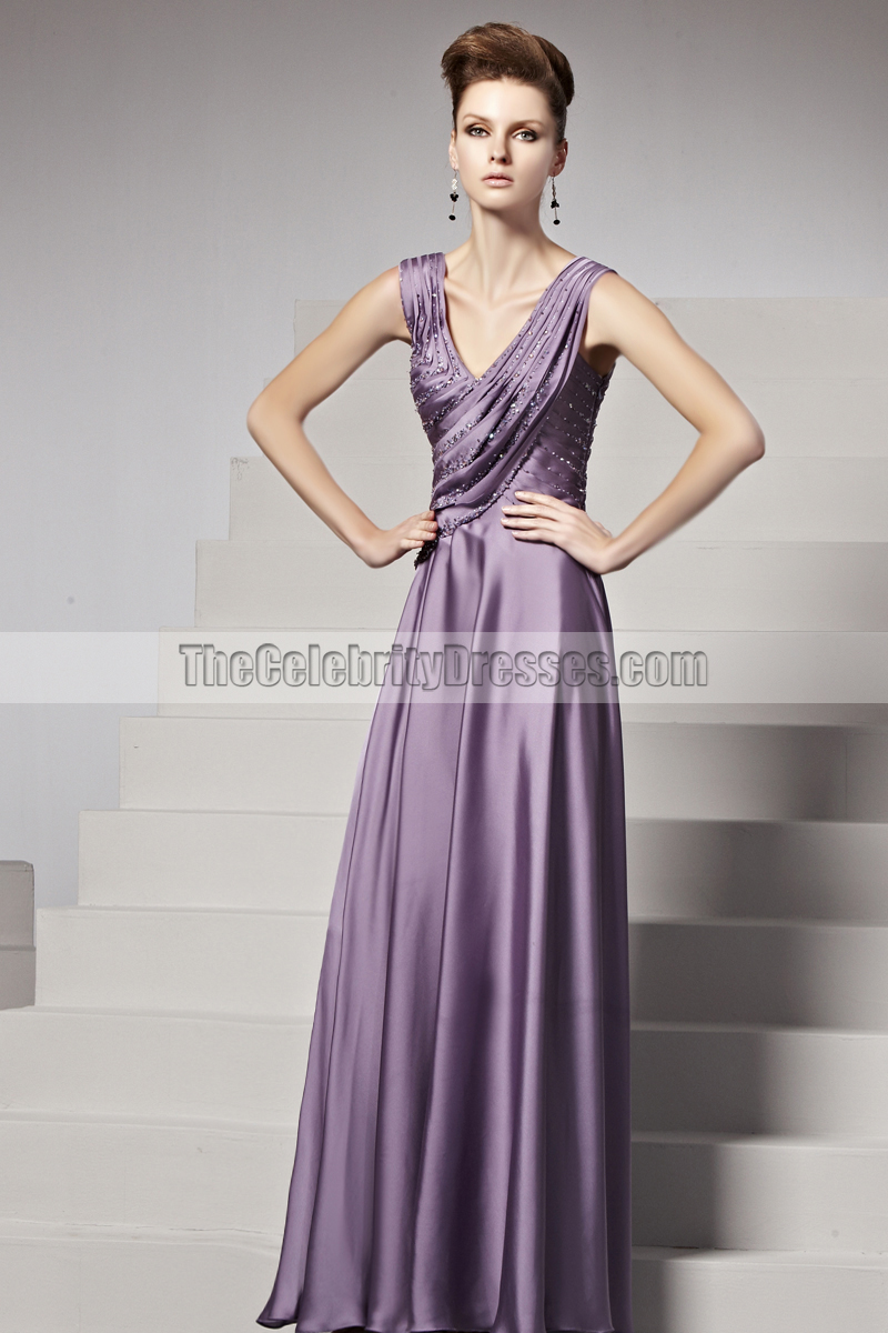 Floor Length Purple Beaded V-Neck Formal Gown Evening Dresses ...