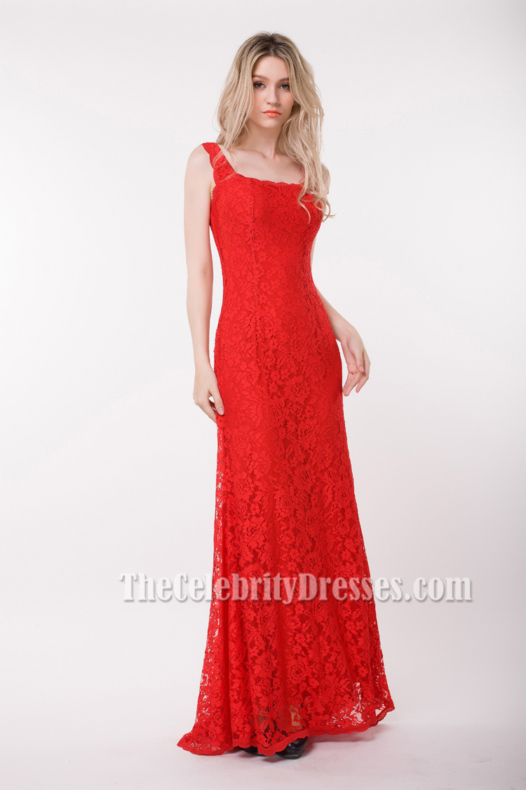 Elegant Floor Length Red Lace Prom Gown Evening Dresses ...