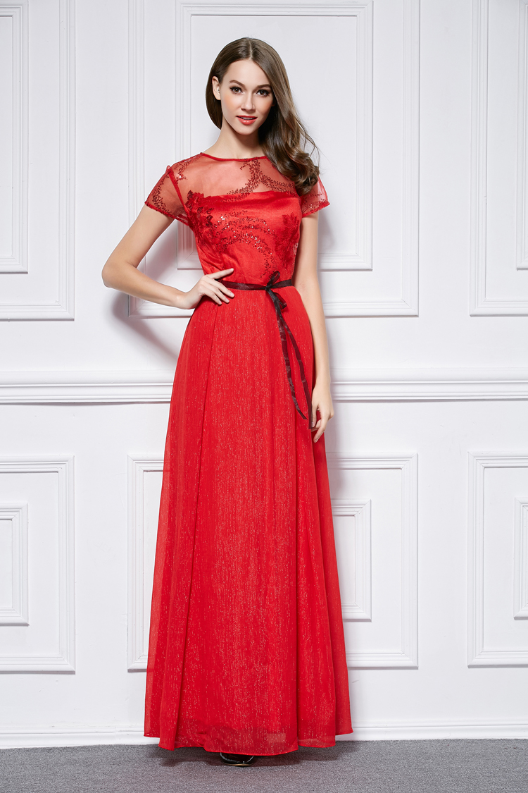 Floor Length Red Short Sleeve Formal Dress Prom Gown ...
