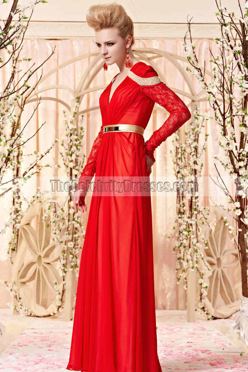 Floor Length Red V-Neck Long Sleeve Formal Dress Evening Gown ...