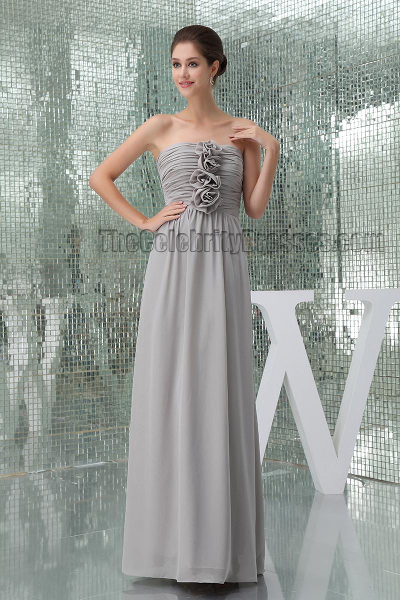 Floor Length Silver Strapless Bridesmaid Prom Dresses