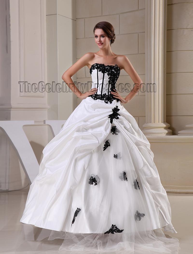 Floor Length Strapless Ball Gown Taffeta Wedding Dress ...