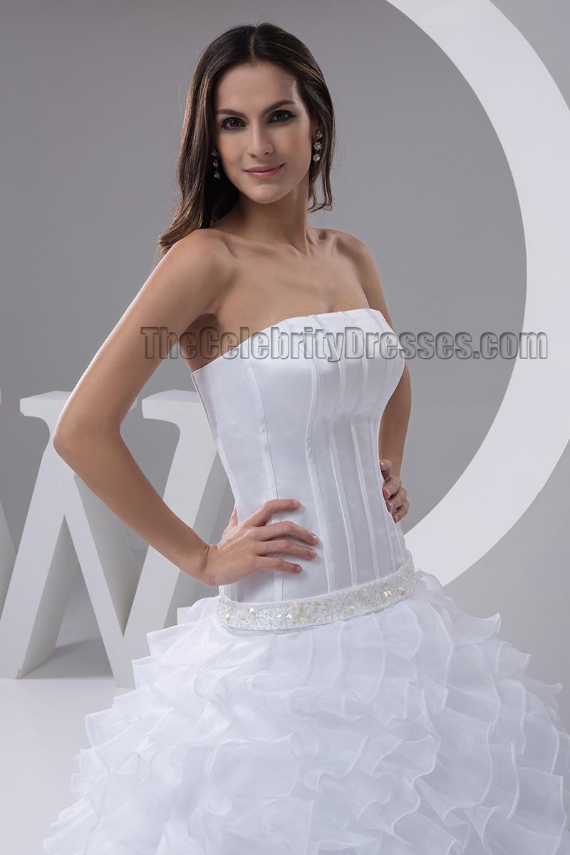 Floor length strapless ruffles beaded wedding dresses for Strapless wedding dress with ruffles
