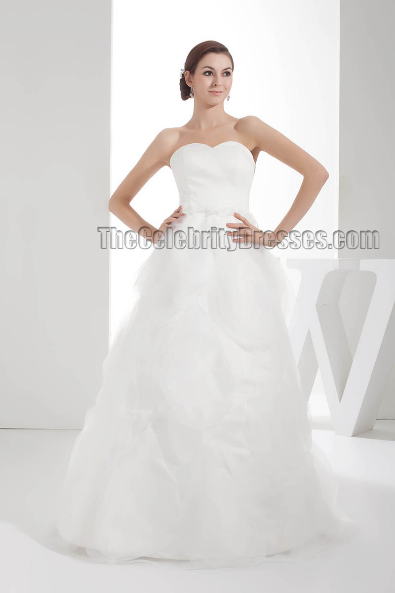 Floor Length Sweetheart Strapless A-Line Organza Wedding Dresses ...