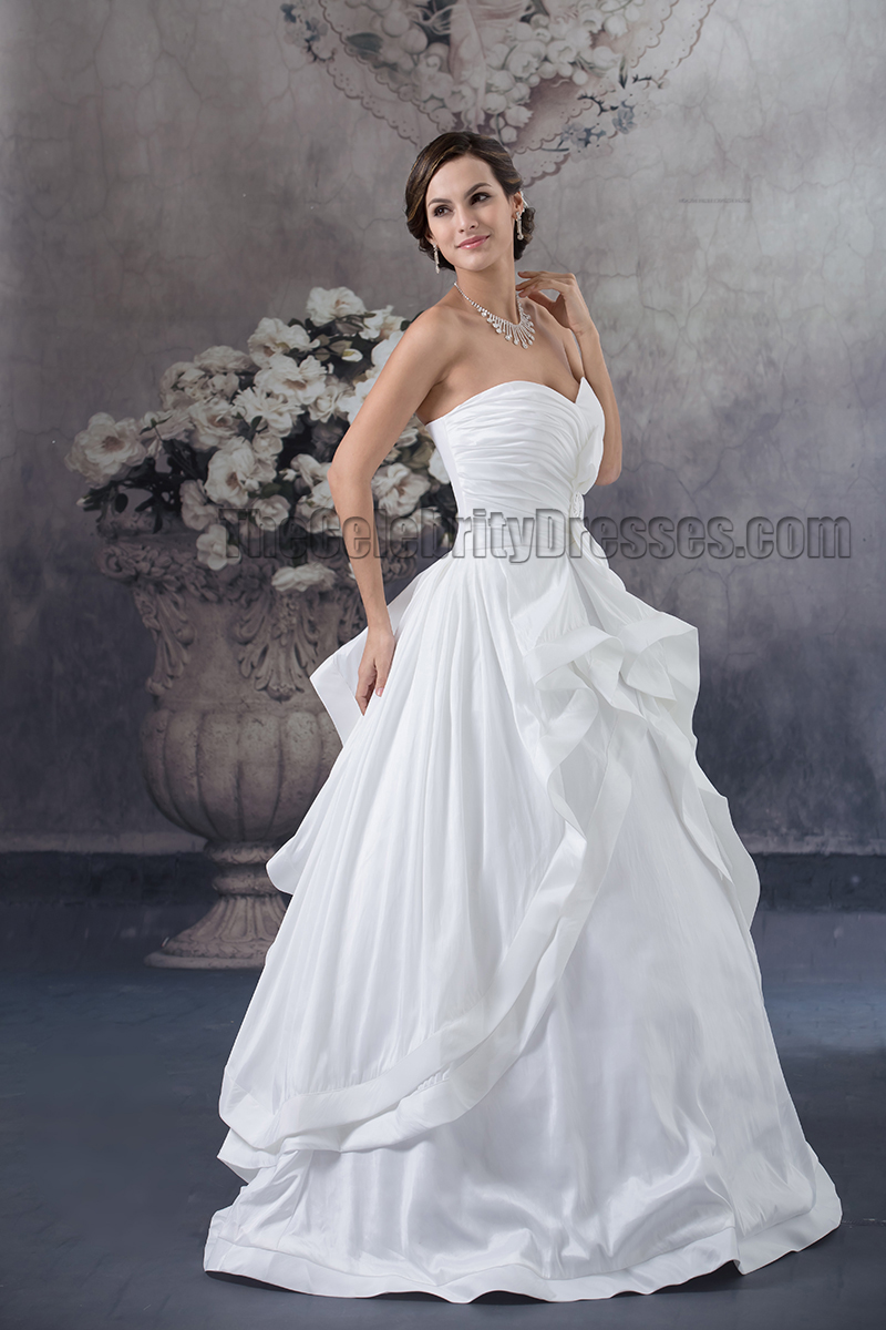 Floor length sweetheart strapless a line taffeta wedding for A line taffeta wedding dress