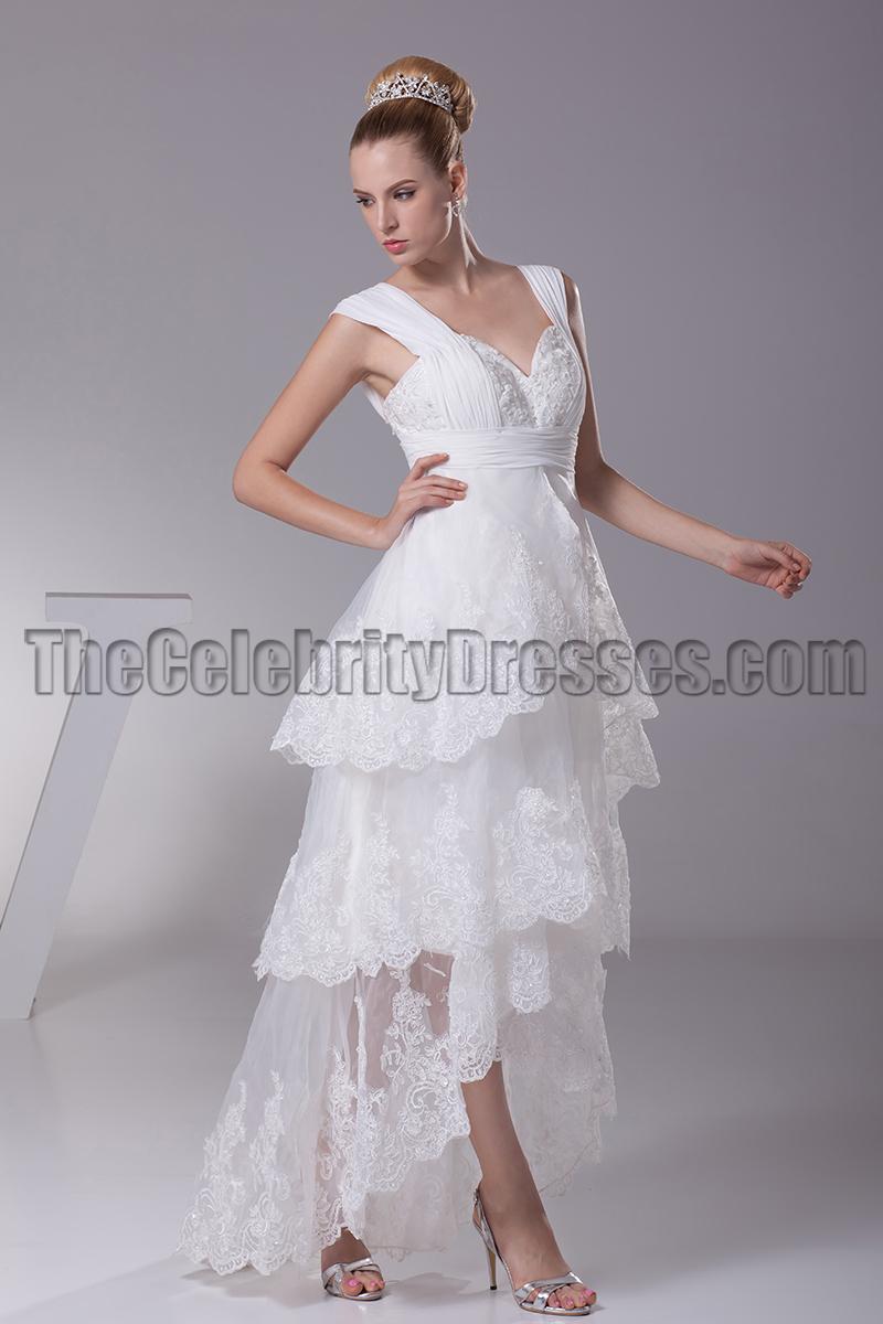 Floor Length V-Neck A-Line Hi Low Wedding Dresses - TheCelebrityDresses