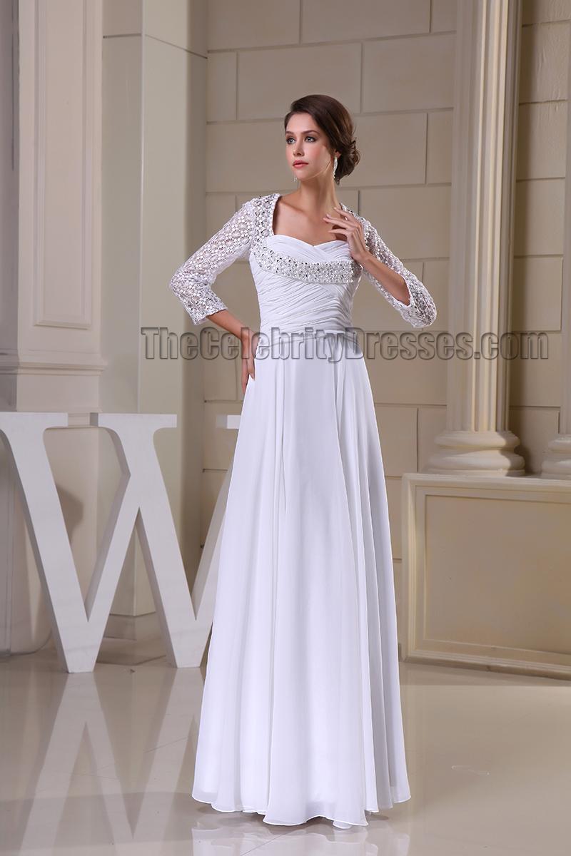 Floor Length White Long Sleeve Prom Gown Evneing Formal Dress ...