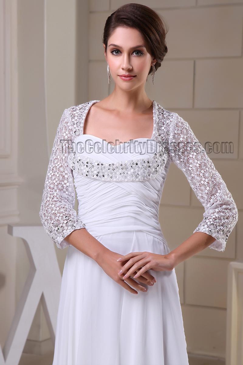 Floor Length White Long Sleeve Prom Gown Evneing Formal