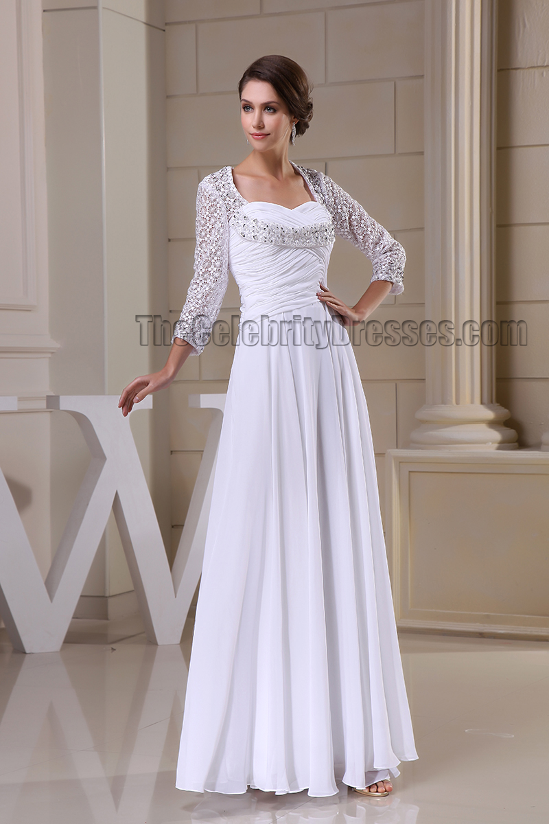 Floor Length White Long Sleeve Prom Gown Evneing Formal ...