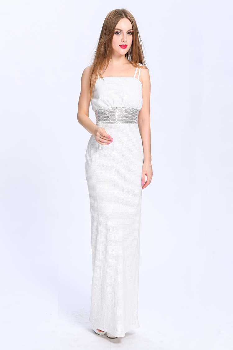 Floor Length White Sequined Spaghetti Straps Prom Gown