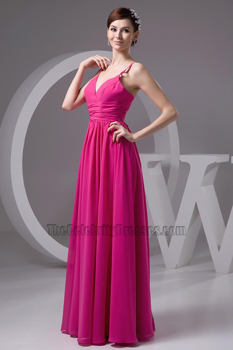 Fuchsia Chiffon Full Length Prom Gown Evening Dresses ...