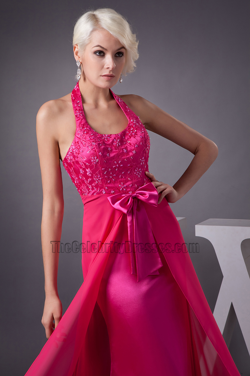 Fuchsia Halter Chiffon Formal Gown Evening Prom Dresses - TheCelebrityDresses